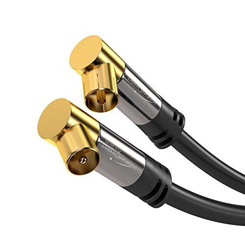 KabelDirekt 20m 75 Ohm HDTV Antennenkabel 90° gewinkelt Koax Stecker Koax Kupplung- PRO Series Koaxialkabel für TV, HDTV, Radio, DVB-T, DVB-C, DVB-S (Winkelstecker)
