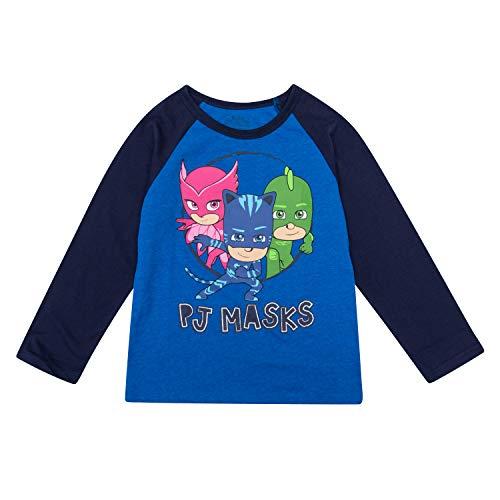 PJMASKS PJ Masks Long Sleeve Shirt Catboy, Owlette, Gekko Long Sleeve T-Shirt (Navy, -