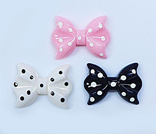 LOVEKITTY 3 pcs Bows Cute Resin Flat Back Kawaii Cabochons