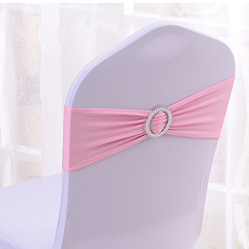 50PCS Spandex Chair Sashes Bows Elastic Chair Bands With Buckle Slider Sashes Bows For Wedding Decorations (Light Pink) (Pink Wedding Decorations)
