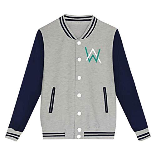 Unisex Youth Girls Boys Classic Alan Walker Sweatshirt Casual Uniform Baseball Cap Jacket Loose Sport Coat for Girls Boys Gray