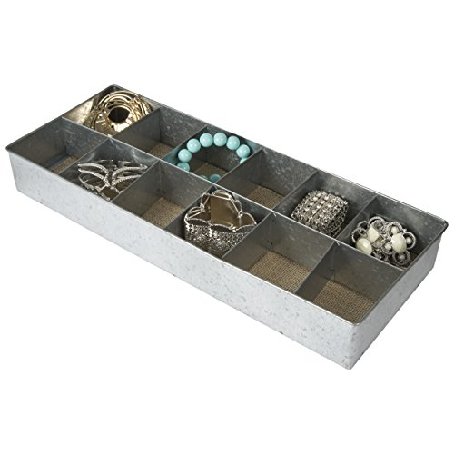 12 Section Tin Jewelry Organizer / Desk Drawer Tray (Tin)