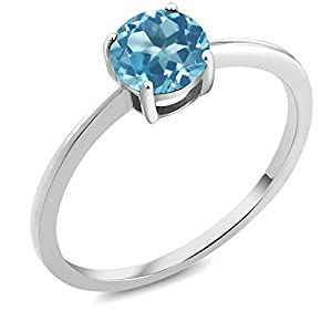 10K White Gold Swiss Blue Topaz Women's Solitaire Engagement Ring 1.00 cttw Round Cut Available in size 5, 6, 7, 8, 9)