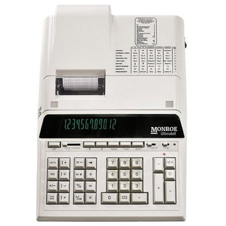- (1) Monroe 12-Digit Print/Display Genuine Monroe UltimateX, Our Top-of-The-Line Heavy-Duty Calculator in Ivory