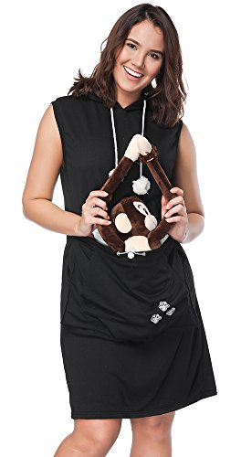 Womens Pet Carrier Dresses Kitten Puppy Holder Long Shirts Big Pouch Hood Tops by Jomago (Image #3)