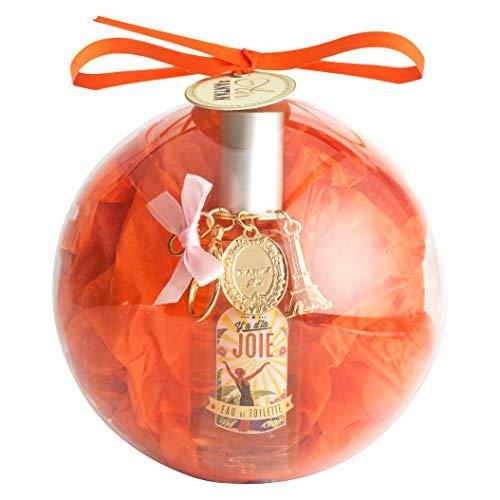 Un-Air-dAntan-Coffret-Cadeau-Boule-de-Sapin-de-Nol-Eau-de-Toilette-Vintage-JOIE-et-son-Porte-Cl-Tour-Eiffel-Parfum-Fleur-dOranger-Ptales-de-Rose-et-Brin-de-Muguet-55ml