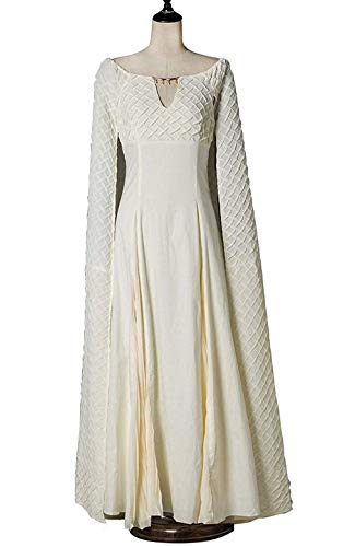 Daenerys Targaryen Costumes Thrones Queen Cosplay White Dress Cloak for Women ()