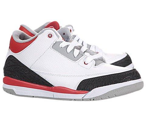 Jordan III (3) Retro (Preschool) - White / Fire Red-Sliver-Black, 11 M US by Jordan