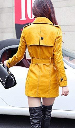 In Giacca Maniche Tempo Trench Fit Similpelle Mode Di Outwear Marca Colore Libero Bavero Transizione Lunghe Double Elegante Breasted Puro Autunno Cappotto Gelb Lunga Donna Primaverile Cw8Yqwz