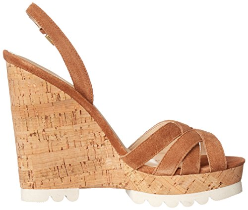 Nine West Kindeyes sandalia de la cuña del ante Natural