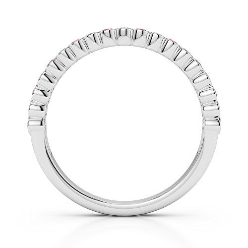 G-H/VS 0,18CT Coupe ronde Certifié Tourmaline Rose et diamants en platine 950Agdr-1101