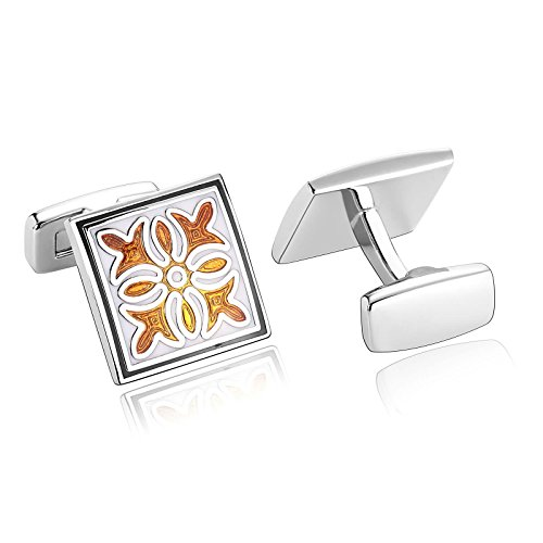 - ANAZOZ Stainless Steel Cufflinks for Men Shirt Cufflinks Wedding White Orange Square 1.7x1.7CM