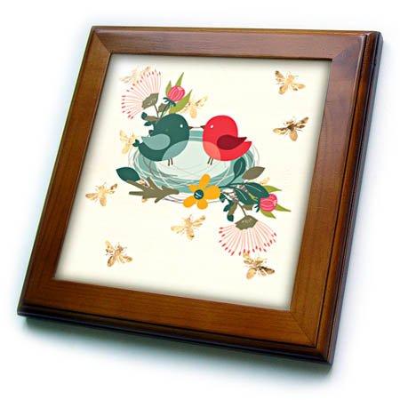 3dRose Amar Singha Art - Nest - Victor Design Of A Nest With Birds And Flowers - 8x8 Framed Tile (ft_280114_1)