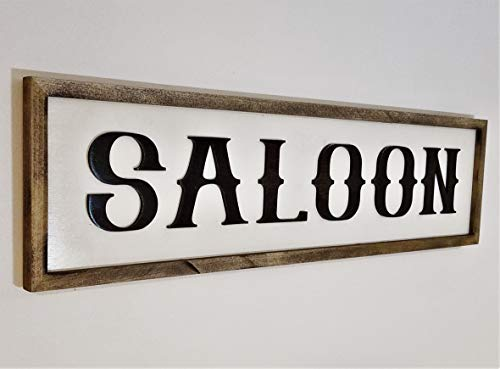 Saloon Sign Rustic Farmhouse style Old World Decor Restaurant Decor Bar Room Decor by Willows Woodworking