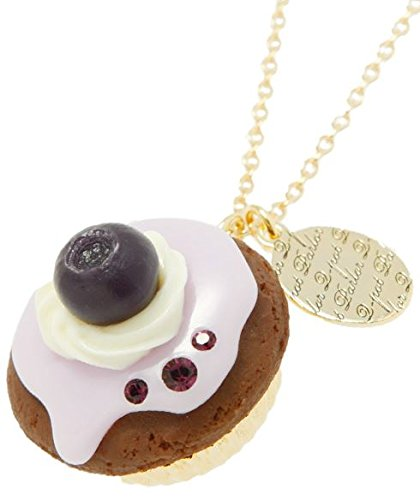 Q-pot. Blueberry Cupcake Necklace Fashion Jewelry New From Japan