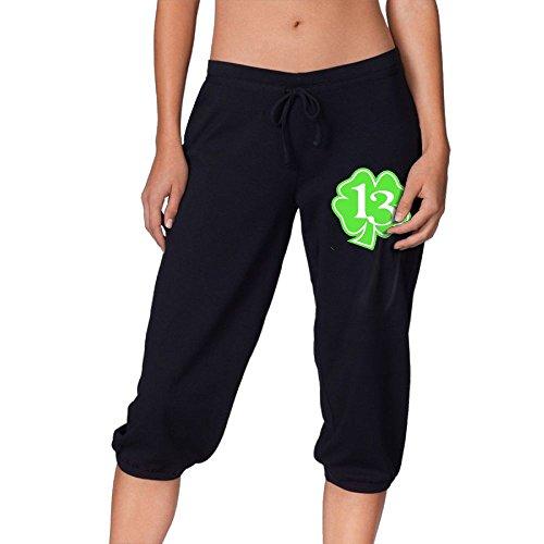 SIHA Dos LOVA Women's Comfy Capris Clover Leaf Print Fit Crop Sweatpant Crop Pant Football Jogger Capri Black Small