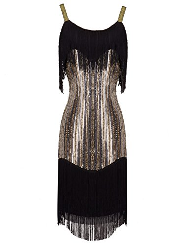 Sequin Fringe 1920s Short Flapper Inspired Party Dress Cocktail D20S021(M,Black Gold) ()