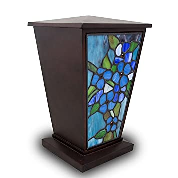 Forget-Me-Not Stained Glass Memorial Urn for Adults – Large – Holds Up to 200 Cubic Inches of Ashes – Blue Cremation Urn for Ashes – Engraving Sold Separately