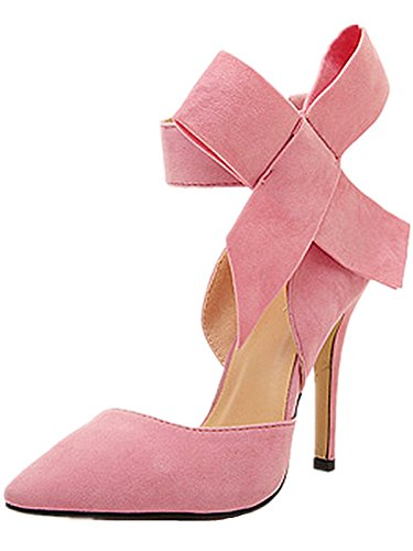Anbover Damestrik Strik Hoge Hakken Riem Spitse Suede Sexy Party Club Stiletto Roze
