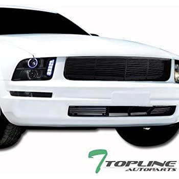 Topline Autopart Black Horizontal Front Upper Bumper Hood Grill Grille + Lower Vent Cover Conversion 05-09 Ford Mustang V6
