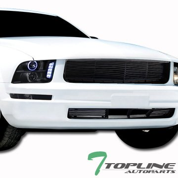 Topline Autopart Black Horizontal Front Upper Hood Grill + Lower Bumper Grille ABS For 05-09 Ford Mustang V6 With Pony Package (Grill Mustang Mesh)