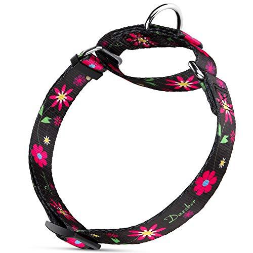 Dazzber Comfortable Floral Print Martingale Dog Collars, Sun Flower, Large, Neck 17-24, Adjustable Dog Collar Heavy Duty