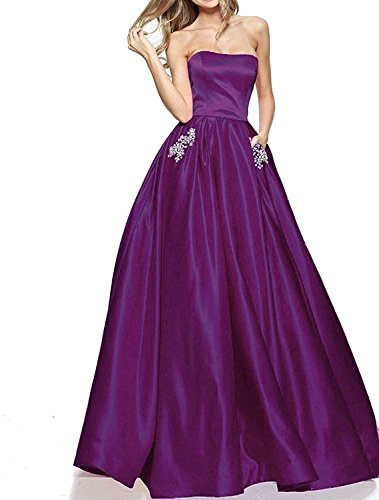 20KyleBird A-Line Strapless Prom Dresses Long 2018 Satin Beaded Evening Party Gowns for Women with Pockets KB005
