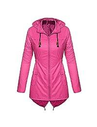 VEZAD Store Women's Jacket Lightweight Hooded Raincoat Windproof Active Outdoor Outerwear Coat