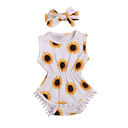 RoDeke Toddler Little Girl Sleeveless Sunflower Floral Print Tassel Bodysuit Outfits + Headband Outfits White ()