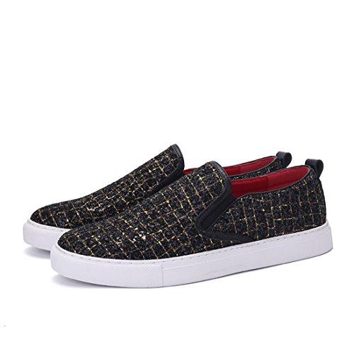 Xiafen Mens Noir / Or Et Noir / Argent Slip-on Mode Appartements Décontractés Mocassins Chaussures Confort Blcak / Or