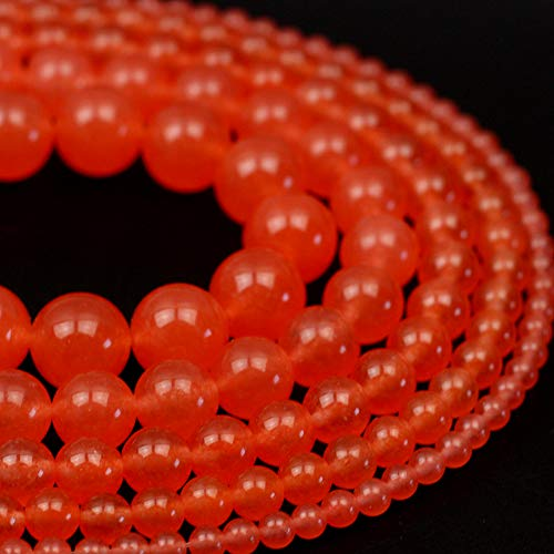 (Oameusa Natural Round 8mm Deep Orange Red Chalcedony Beads Gemstone Loose Beads Agate Beads for Jewelry Making 15