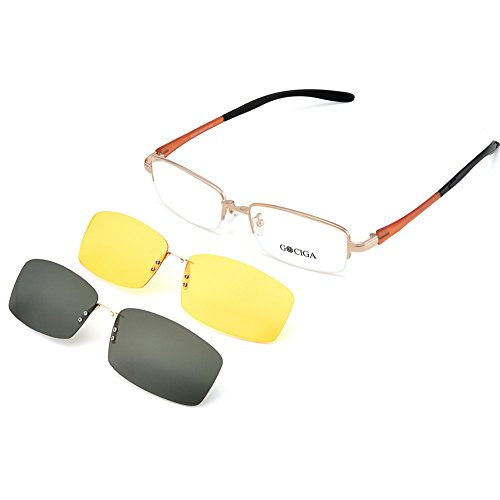 GOCIGA Unisex Half Rimless Eyeglasses Magnetic Sunglasses Clip and Night Vision Clip for Driving by GOCIGA