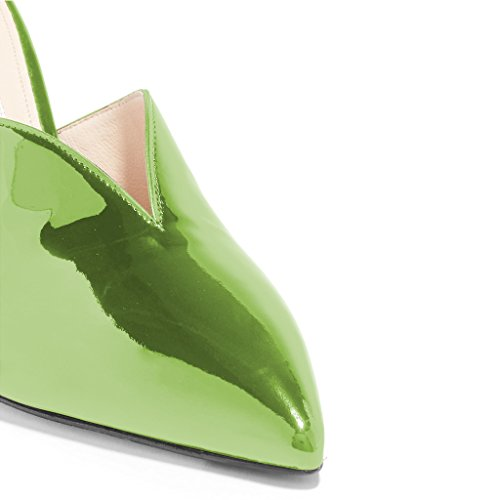 Pumps Green On Toe Shoes 4 FSJ Slip Sandals Heeled Party US Size High Gorgeous Pointy Mule Patent Women 15 pnpUR0XC