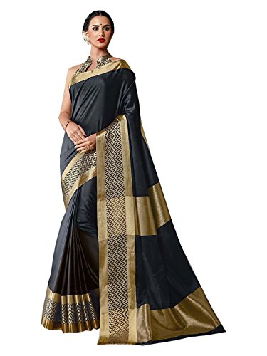 Shonaya Women's Party Wear Woven Handloom Cotton Silk Print Saree With Unstitched Blouse Piece (Black) (Saree Print)