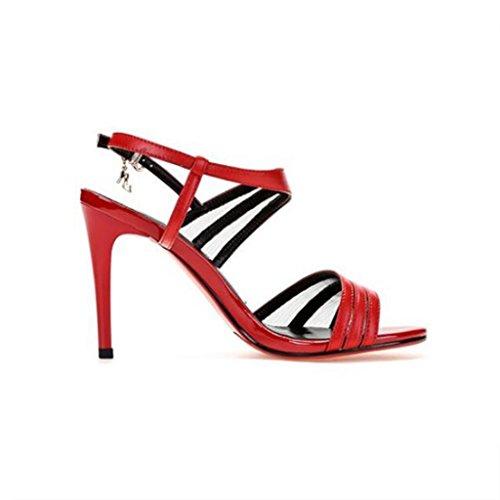 W&LM Sra Tacón alto sandalias piel genuina sandalias Tacones altos Cabeza redonda Boca rasa los zapatos de cuero Red