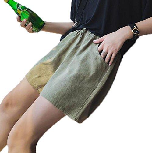 キャプテンブライ電池やむを得ないアイビエツ(AIBIETU) レディース ショートパンツ 綿麻 体型カバー 美脚 ハーフパンツ シンプル ゆったり 無地 キュロット パンツ