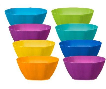 Fingey Juego de 8 Platos y Vasos de plástico para microondas y Picnic, Varios Colores, plástico, Tumblers