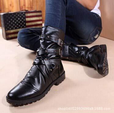 Mid da con Vintage Uomo a Chiusura Uomo Zip da Black Boots qUqFfBw6