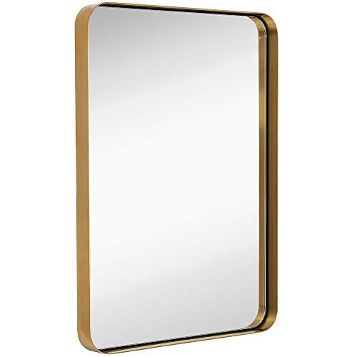 Golden Bronze Frames Set - Hamilton Hills Contemporary Brushed Metal Wall Mirror | Glass Panel Gold Framed Rounded Corner Deep Set Design | Mirrored Rectangle Hangs Horizontal or Vertical (22