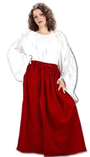 Medieval Renaissance Pirate Eleanor Cotton Skirt Costume [Red] (Eleanor Cotton Skirt)