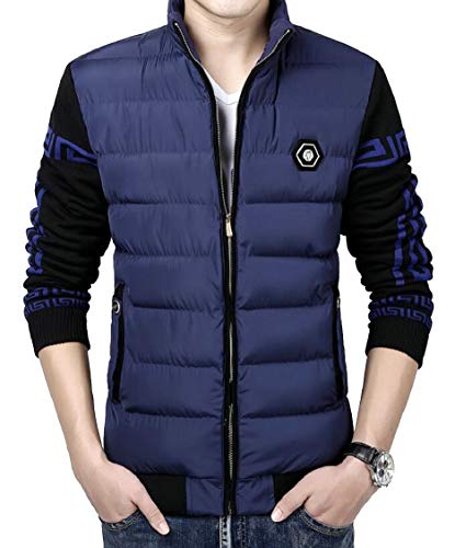 Casual Gocgt Stand Quilted Blue Zipper Men's Down Collar Padded Jacket CqUZP4q