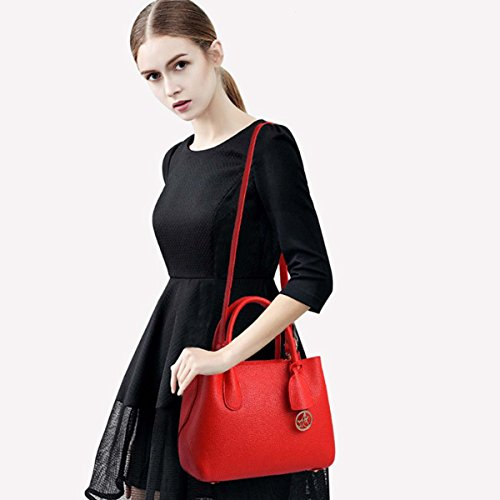 Shoulder bolso Satchel casual Top Messenger Stylish Boutique NICOLE Rojo rojo Purse amp;DORIS trabajo de Modern Bolsa Tote Handle Mujeres qRap40z