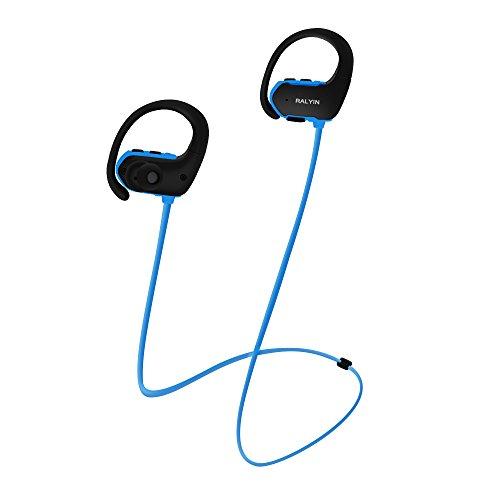 MP3 Headphones Built in 8GB TF Card Memory Storage,Ralyin Bluetooth Earbuds with Microphone Wireless Headphones for Working Sport Audifonos Waterproof Cordless Earphones w mic Headset Audiobook (blue) (Mp3 Headphones Player)
