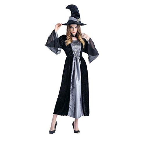 Popular 2016 Costumes (Womens Black Witch Costume Performance Suits Cosplay Outfit Props + Hat For Party & Halloween & Carnivals)
