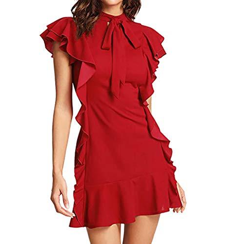 - Summer Dresses for Women Tie Neck Short Sleeve Ruffle Hem Cocktail Party Dress Red