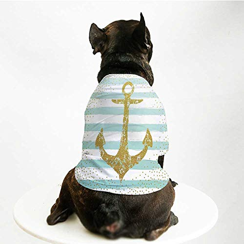 YOLIYANA Anchor Decor Skin Friendly Pet Suit,Nordic Marine Golden Anchor Striped Background Old Fashioned Glitter Art Print for Pet Dogs,S ()