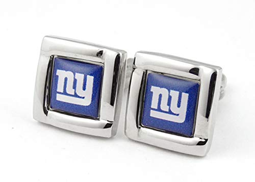 (aminco NFL New York Giants Logo Square Cufflinks with Gift Box Set, One Size, Silver)