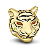 GNOCE Women's Animal Charms for Bracelets Fashion 925 Silver Charm for Women Fit US European Bracelet Necklace Gift (Tiger)