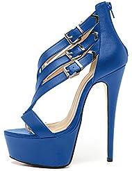Onlymaker Womens Open Toe Platform Stiletto Ankle Strap Buckle Back-Zip High Heel Pump Dress Sandals