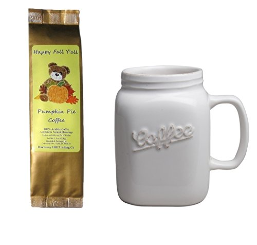 Jar Type Mug Cup with Happy Fall Y'all Pumpkin Pie Coffee Gift Set Bundle (2 Items)